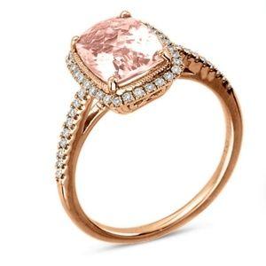 Morganite Engagement Ring with Wedding Band